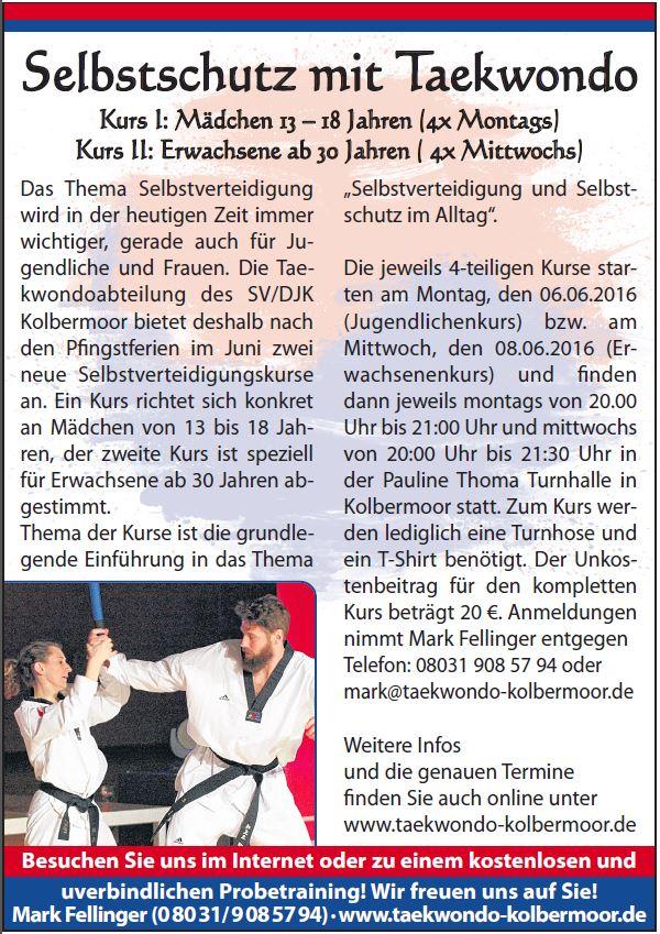 Anzeige Taekwondo Selbstschutz