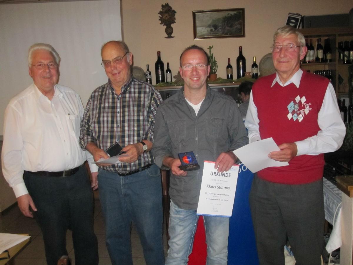 40 Jahre von links:  Gerhard Duschl, Walter Mues, Klaus Stöttner, Franz Nußhart