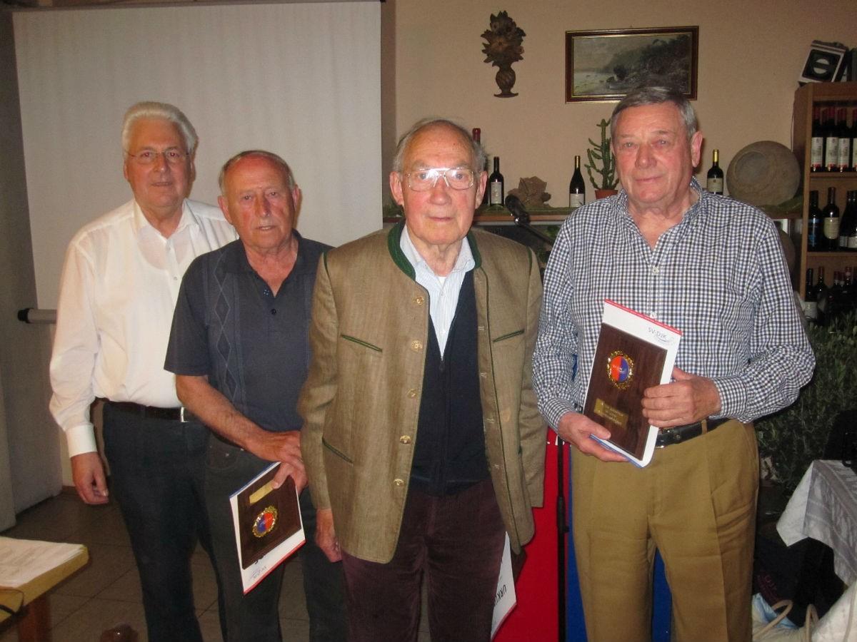 65 Jahre von links: Gerhard Duschl, Hans Wolf, Josef Legath, Karl Berghammer